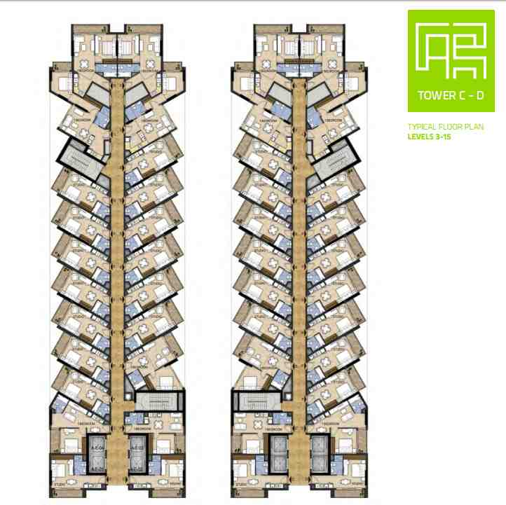 NAVITAS AKOYA OXYGEN Residential Studio and Hotel apartments STD 1 BR floor plan tower c