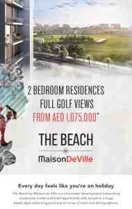 2 bedroom apartments at The Beach by Maison DeVille at Akoya Oxygen starting from AED1,075,000.