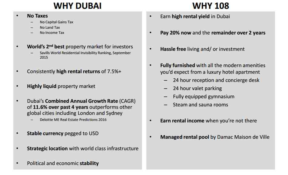 WHY INVEST IN Damac Tower 108