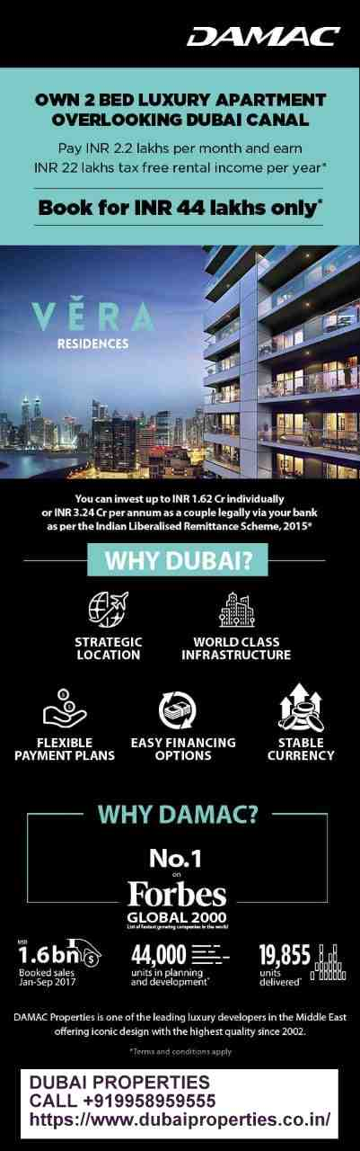 Launch of Vera Residences | Pay AED 4,990 per month* CALL +919958959555 Dubai Properties Studio | Serviced Hotel Apartments | Villas | Townhouses #DAMAC #PARAMOUNT 8% #Assuredreturn for 3 years!! Handovers already started!! Pls call for more details. #DUBAI #PROPERTIES CALL +919958959555 https://www.dubaiproperties.co.in/ Don't miss the opportunity to book a luxury unit from a range of our finest properties. Many are ready to move in and come with special payment plans. #dubairealestate #dubairealestateagent #dubairealestatebroker #dubairealestatebuying #dubairealestateproperty #dubairealestates #dubairealestateselling #dubairealestatebrokers #dubaiproperties #dubaipropertiesforsale #DAMACProperties #DAMACOfficial #Realestate #LuxuryProperty #MyDubai @ Dubai, United Arab Emirates